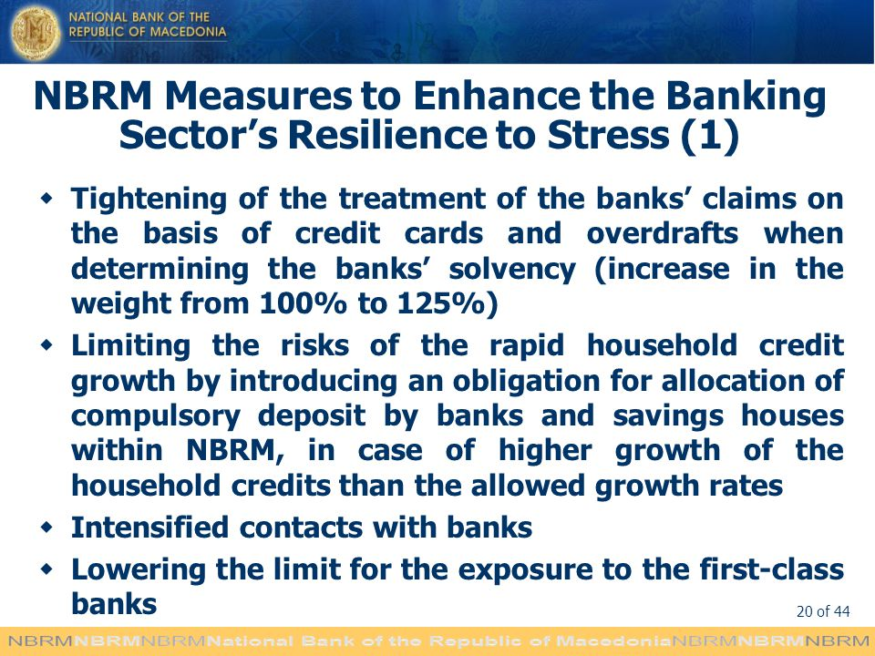 NBRM Measures to Enhance the Banking Sector's Resilience to Stress (1)