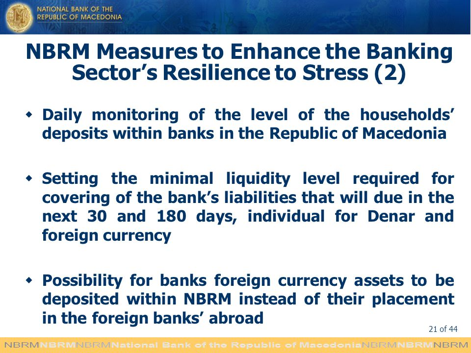 NBRM Measures to Enhance the Banking Sector's Resilience to Stress (2)