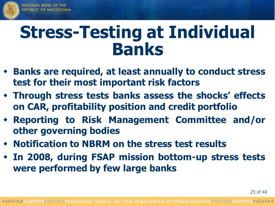 Stress-Testing at Individual Banks
