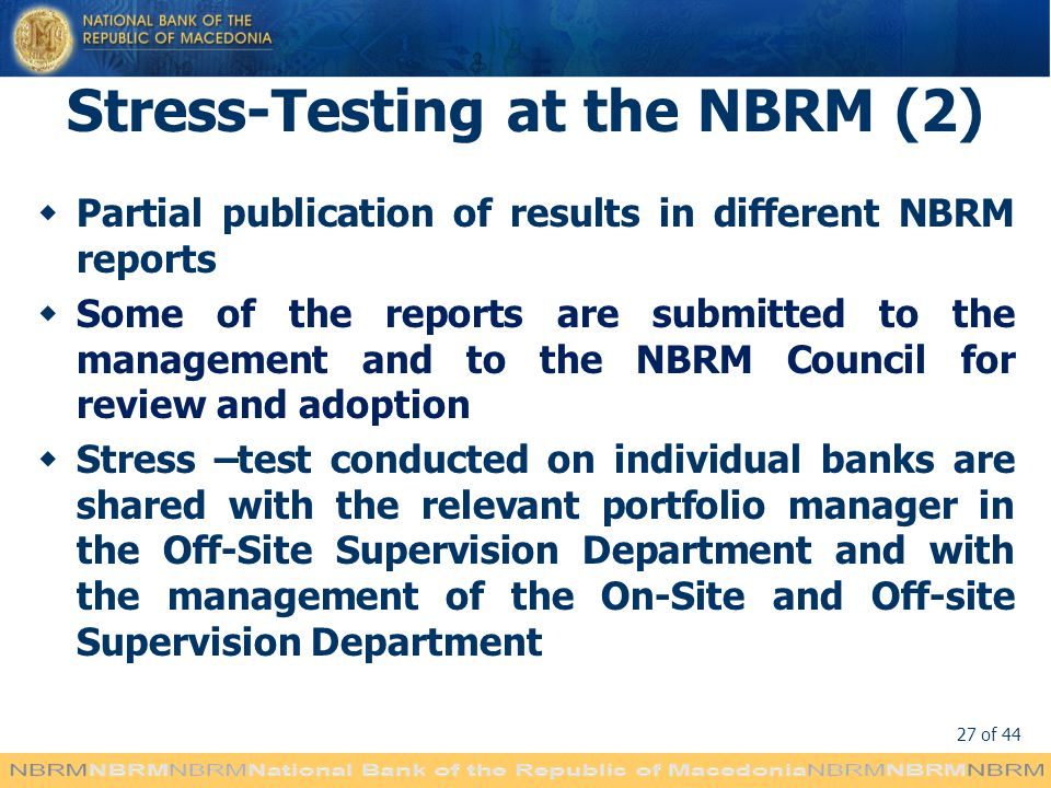 Stress-Testing at the NBRM (2)