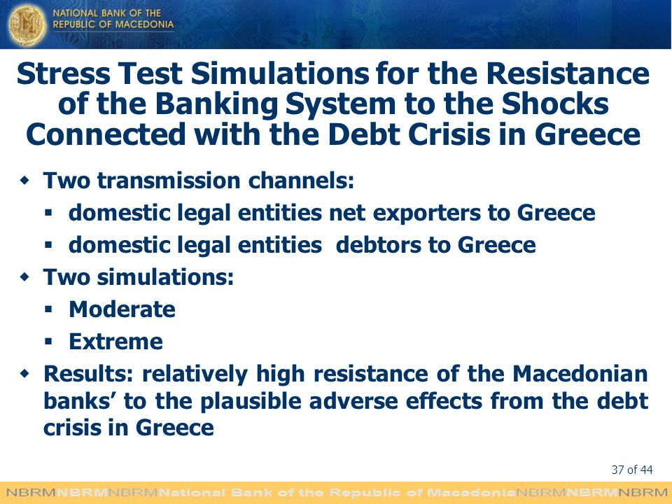 Stress Test Simulations for the Resistance of the Banking System to the Shocks Connected with the Debt Crisis in Greece
