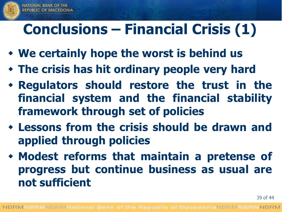 Conclusions – Financial Crisis (1)