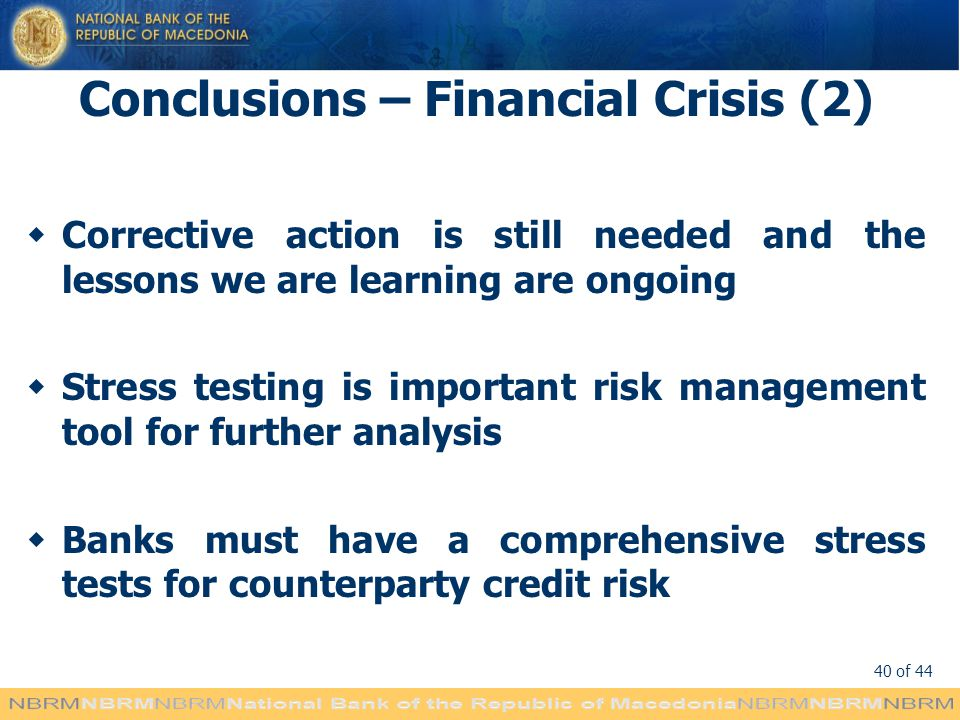 Conclusions – Financial Crisis (2)