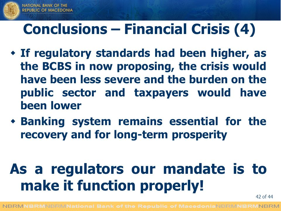 Conclusions – Financial Crisis (4)