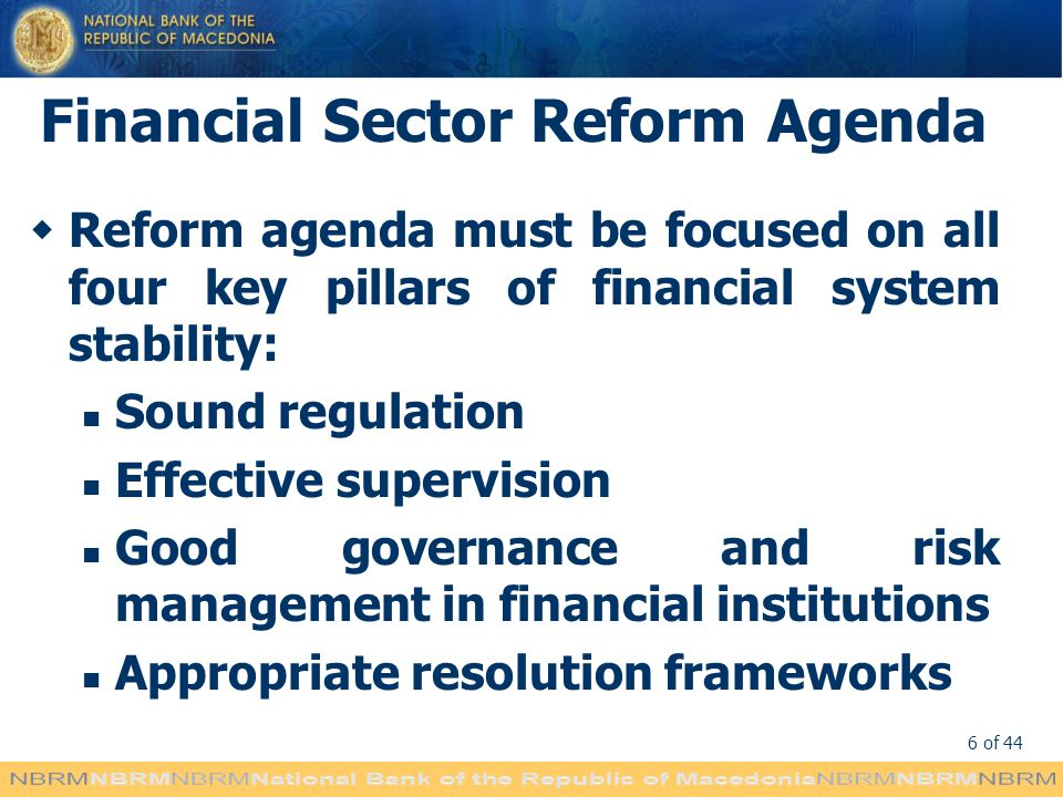 Financial Sector Reform Agenda