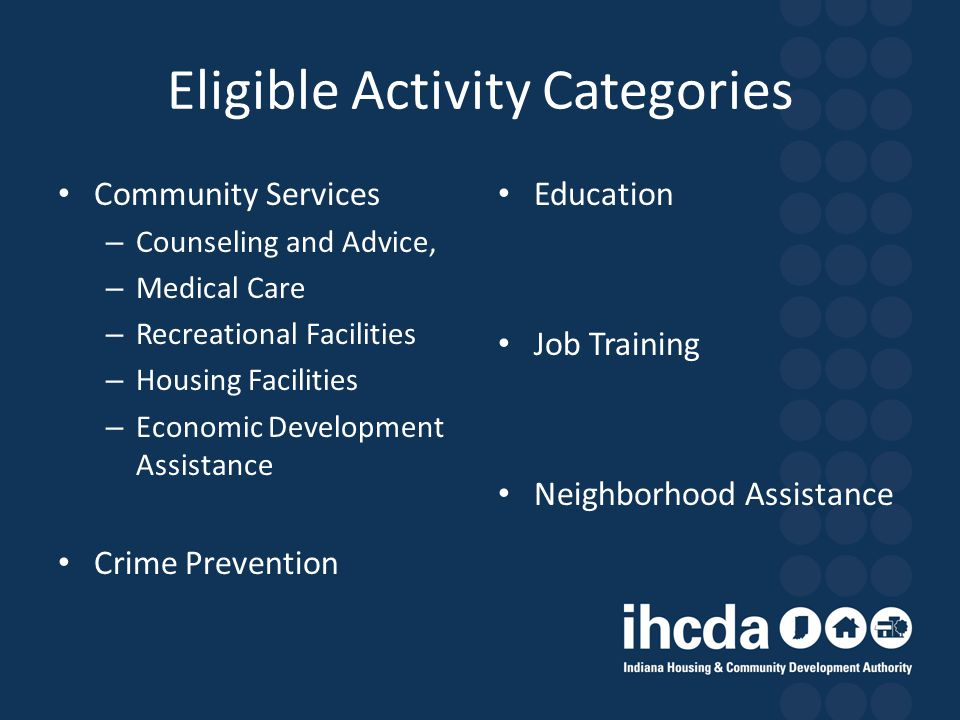 Eligible Activity Categories