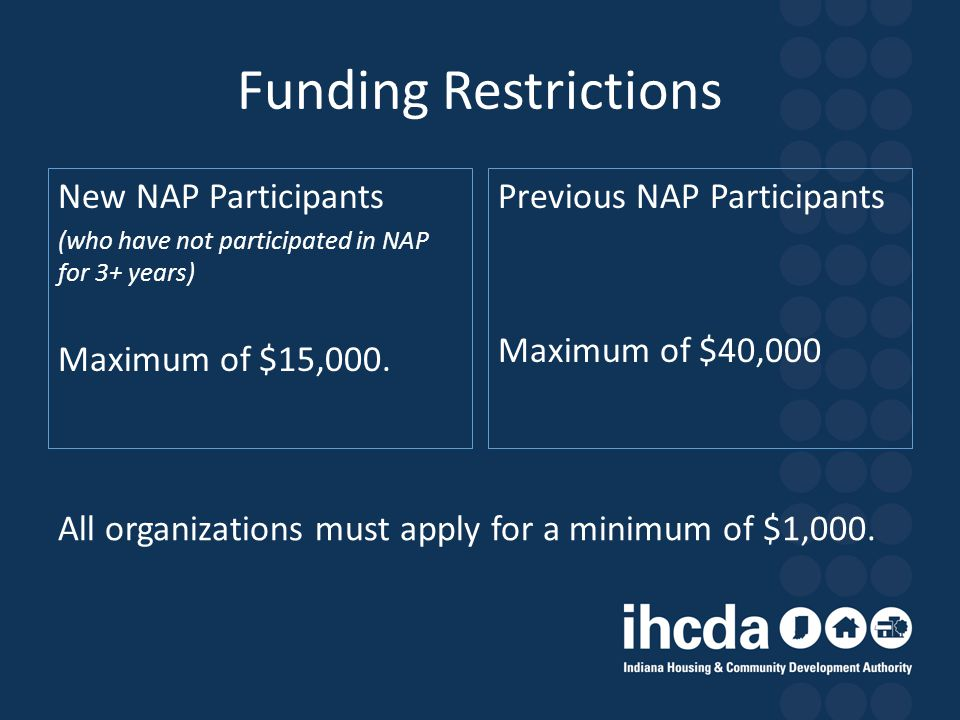 Funding Restrictions New NAP Participants Maximum of $15,000.