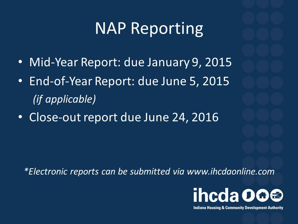 *Electronic reports can be submitted via www.ihcdaonline.com