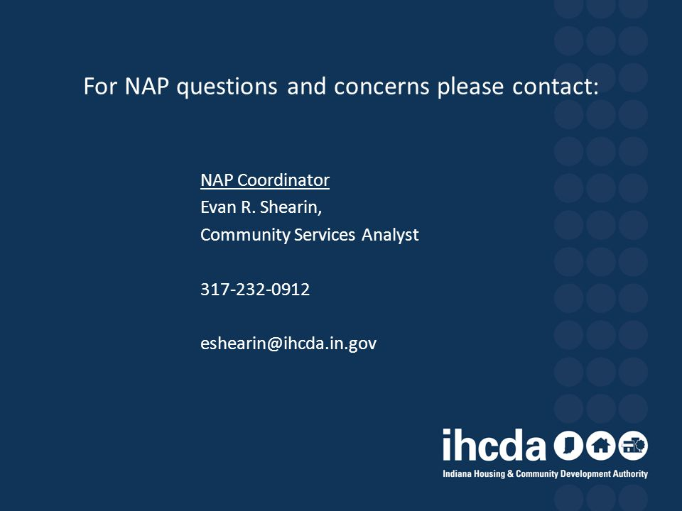 For NAP questions and concerns please contact: