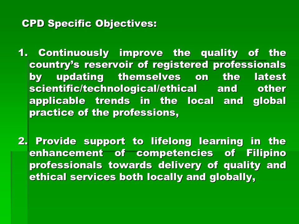 CPD Specific Objectives: