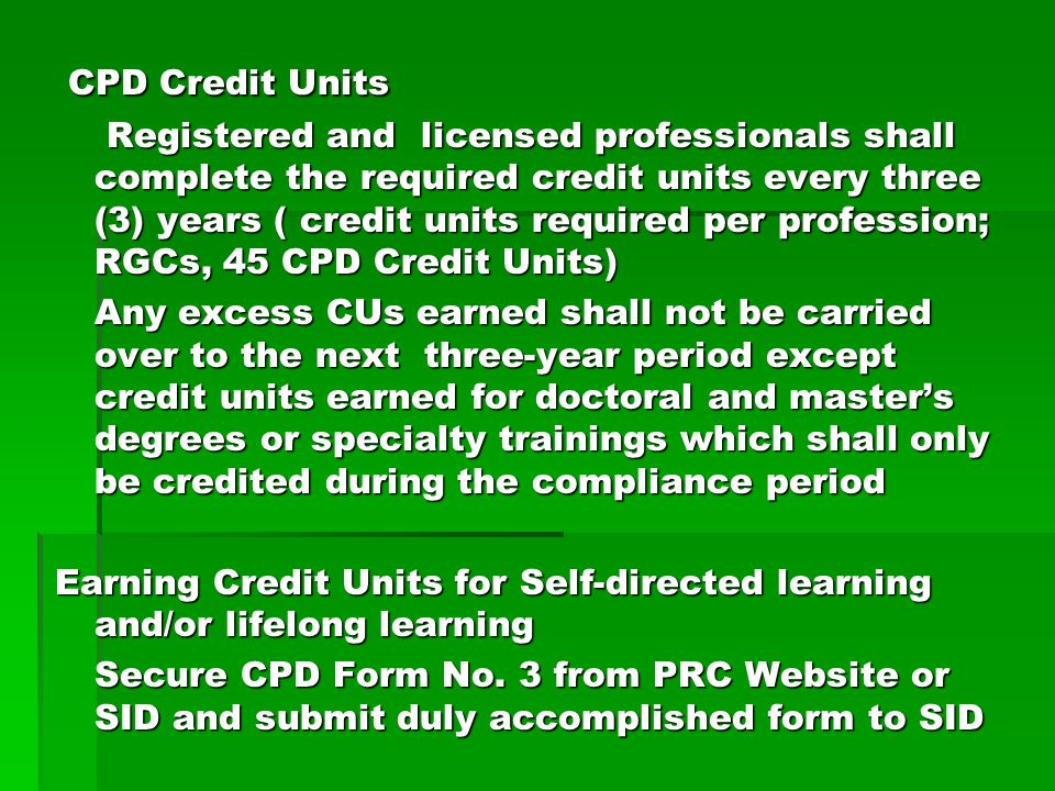 CPD Credit Units