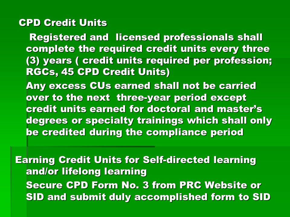 CPD Credit Units