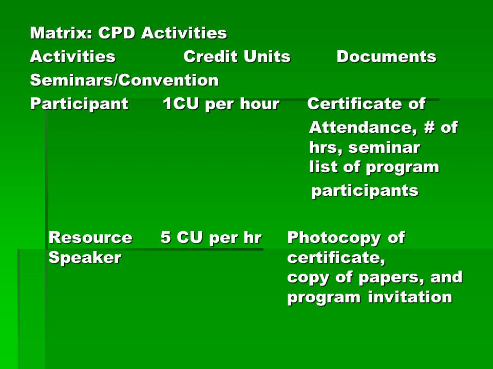Matrix: CPD Activities