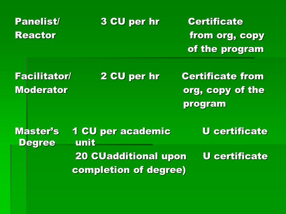 Panelist/ 3 CU per hr Certificate