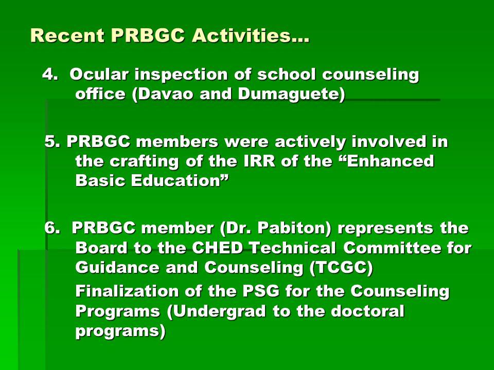 Recent PRBGC Activities...
