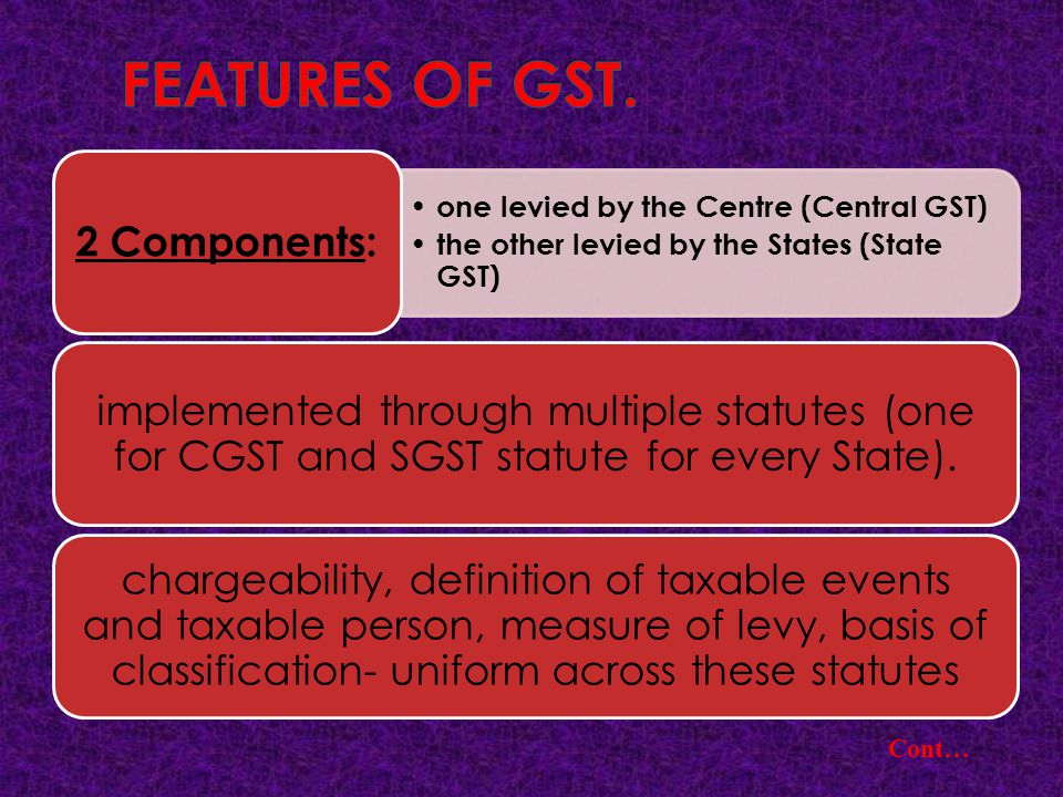 FEATURES OF GST. Cont… 2 Components: