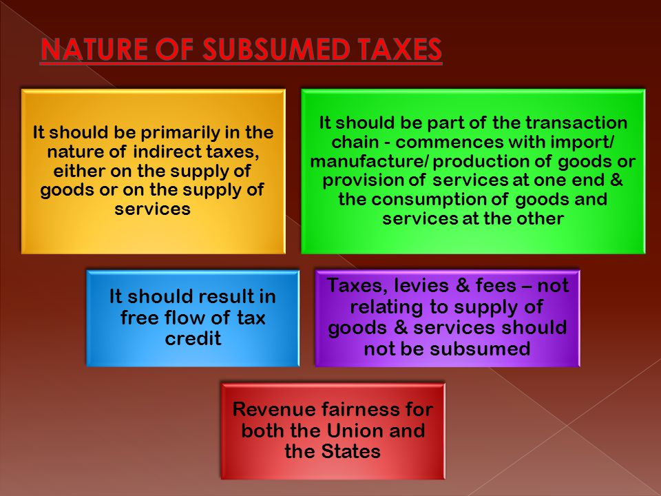 NATURE OF SUBSUMED TAXES
