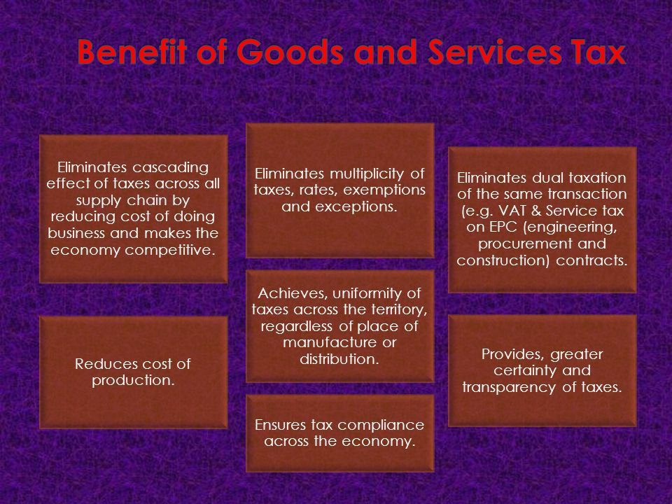 Benefit of Goods and Services Tax