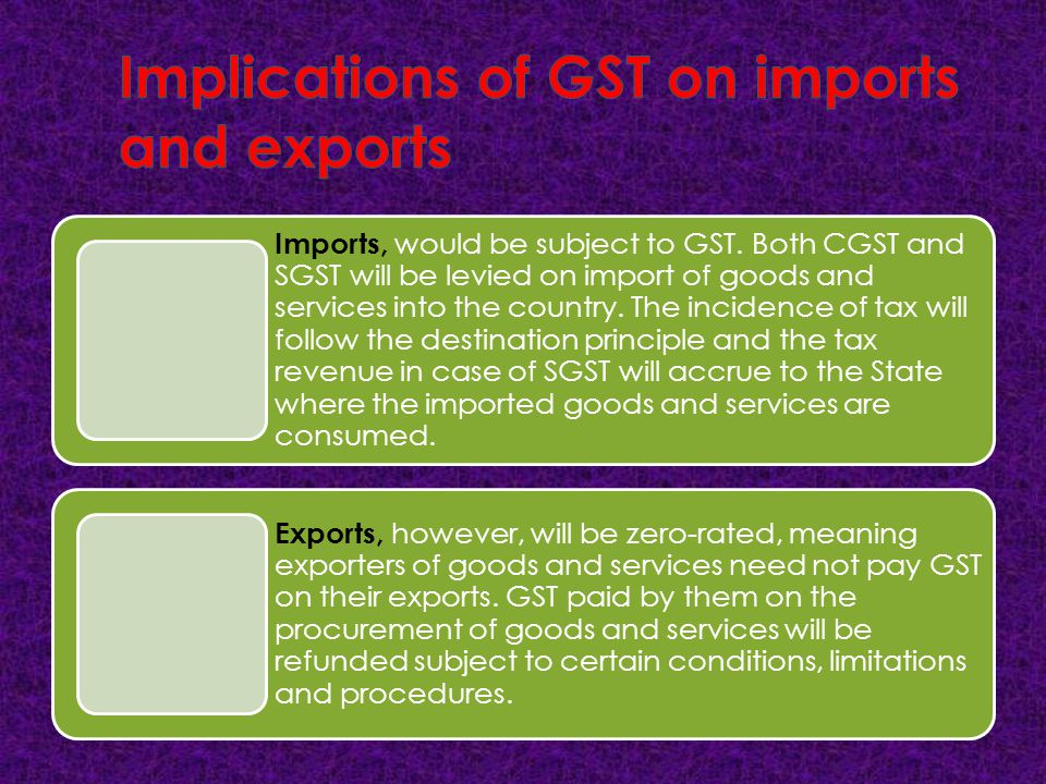 Implications of GST on imports and exports