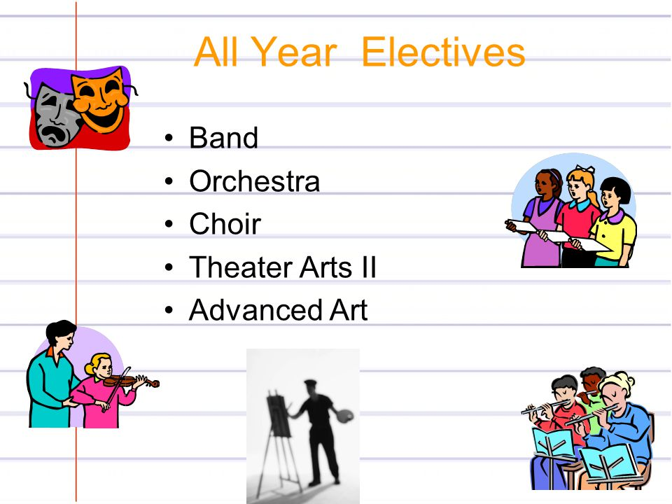 All Year Electives Band Orchestra Choir Theater Arts II Advanced Art