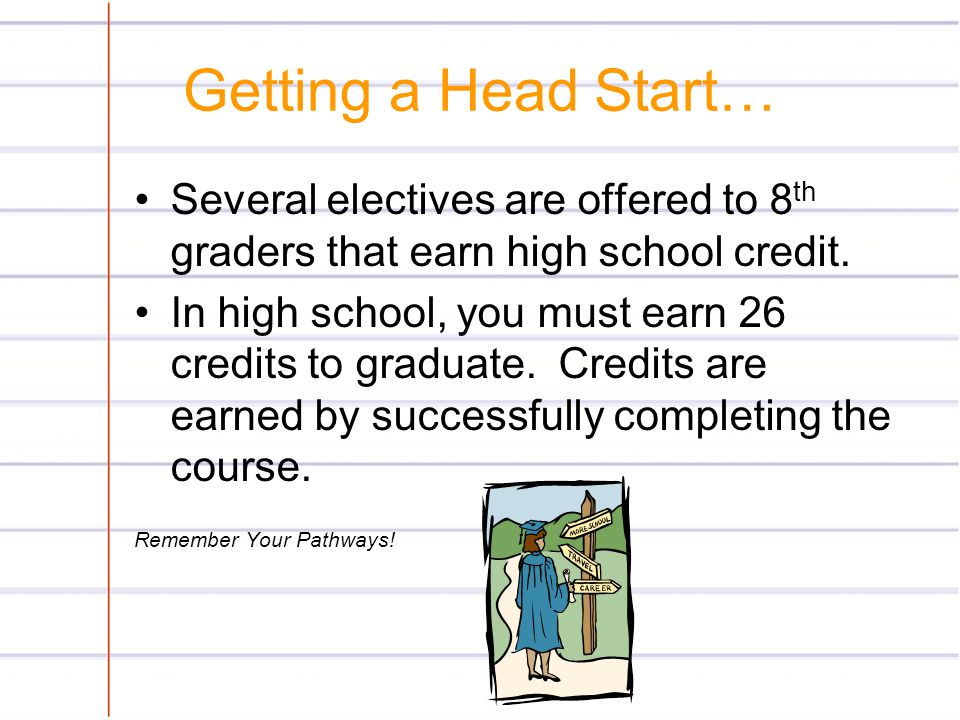 Getting a Head Start… Several electives are offered to 8th graders that earn high school credit.