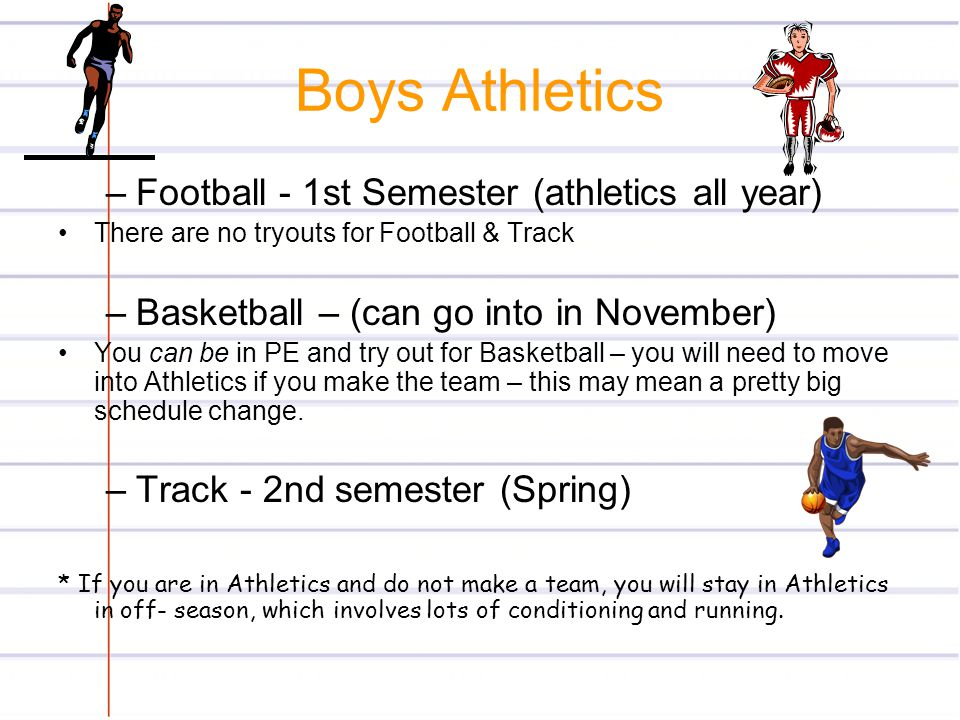 Boys Athletics Football - 1st Semester (athletics all year)