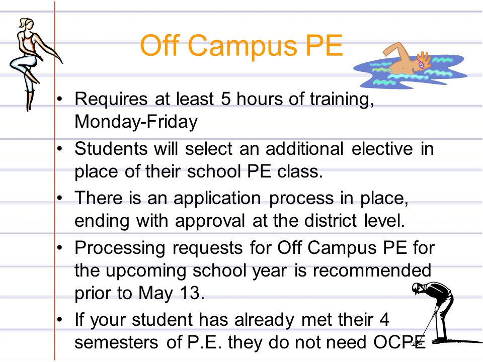 Off Campus PE Requires at least 5 hours of training, Monday-Friday
