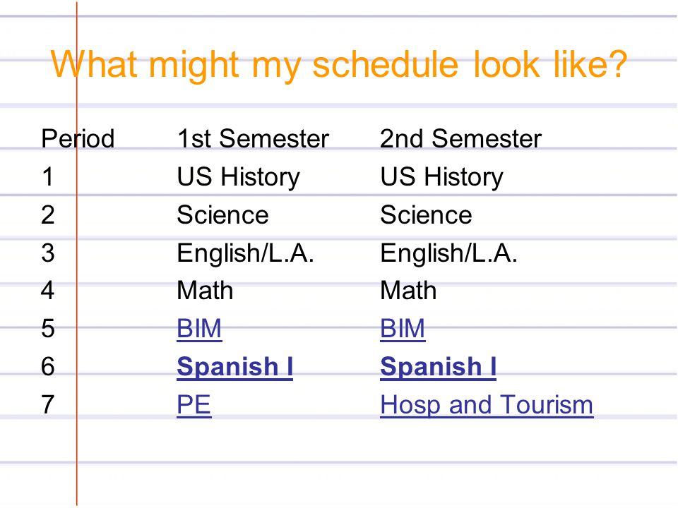 What might my schedule look like