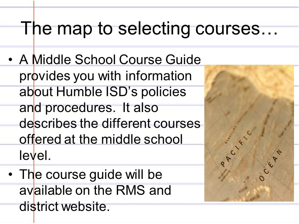 The map to selecting courses…
