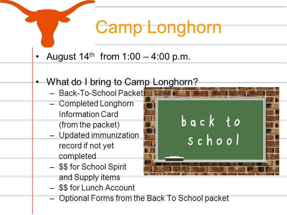 Camp Longhorn August 14th from 1:00 – 4:00 p.m.