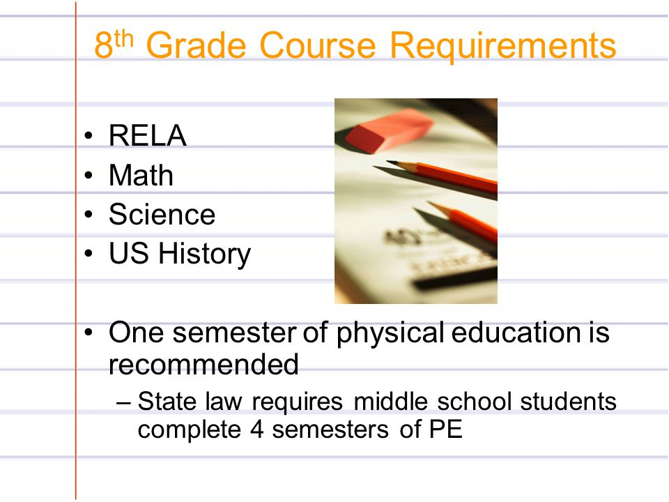 8th Grade Course Requirements