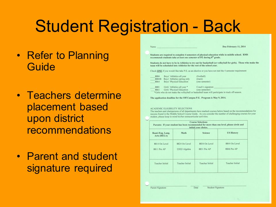 Student Registration - Back