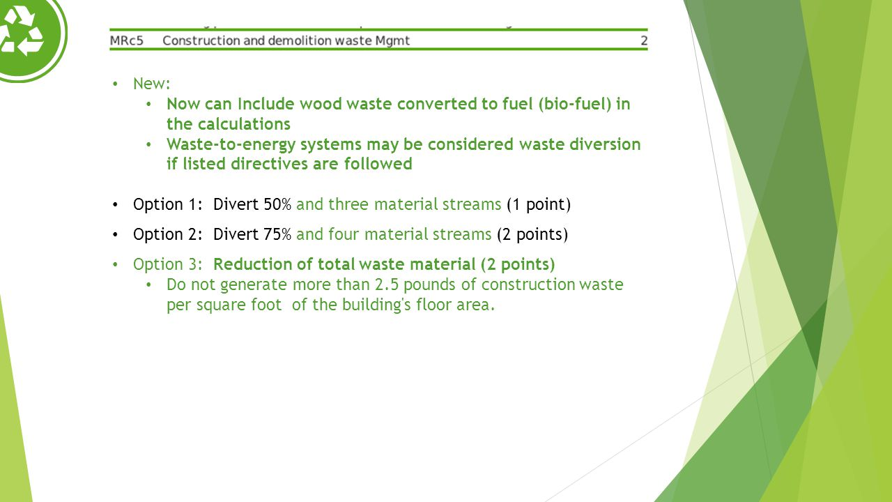 Option 1: Divert 50% and three material streams (1 point)