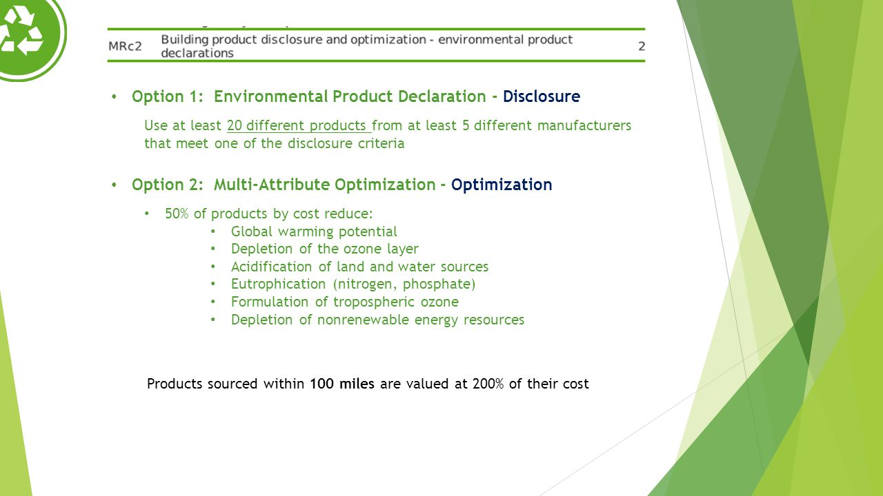 Products sourced within 100 miles are valued at 200% of their cost