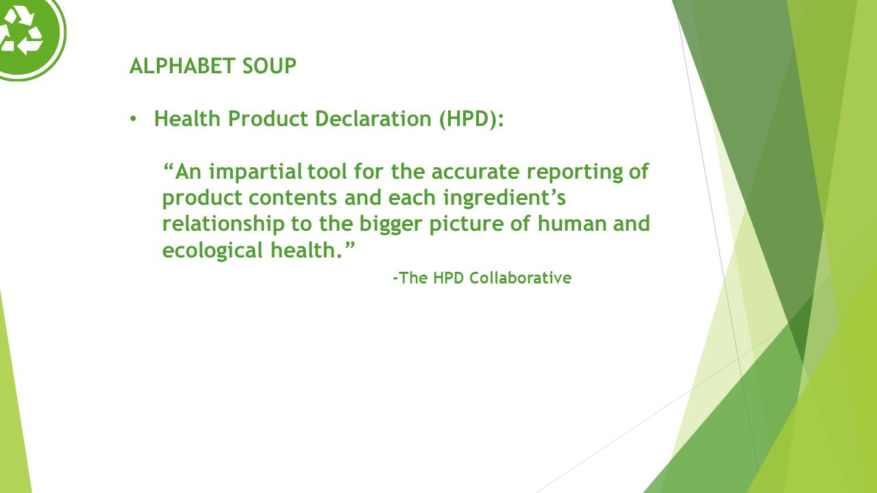 Health Product Declaration (HPD):