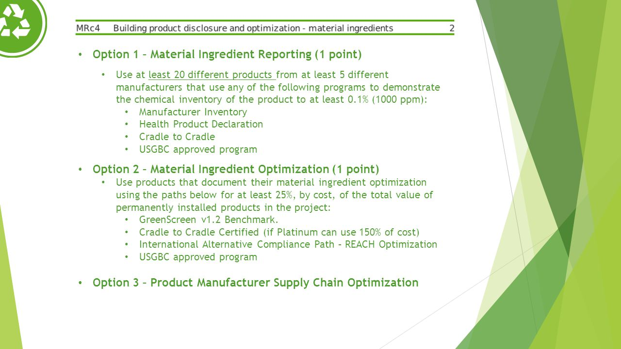 Option 1 – Material Ingredient Reporting (1 point)