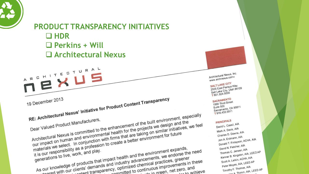 PRODUCT TRANSPARENCY INITIATIVES HDR Perkins + Will