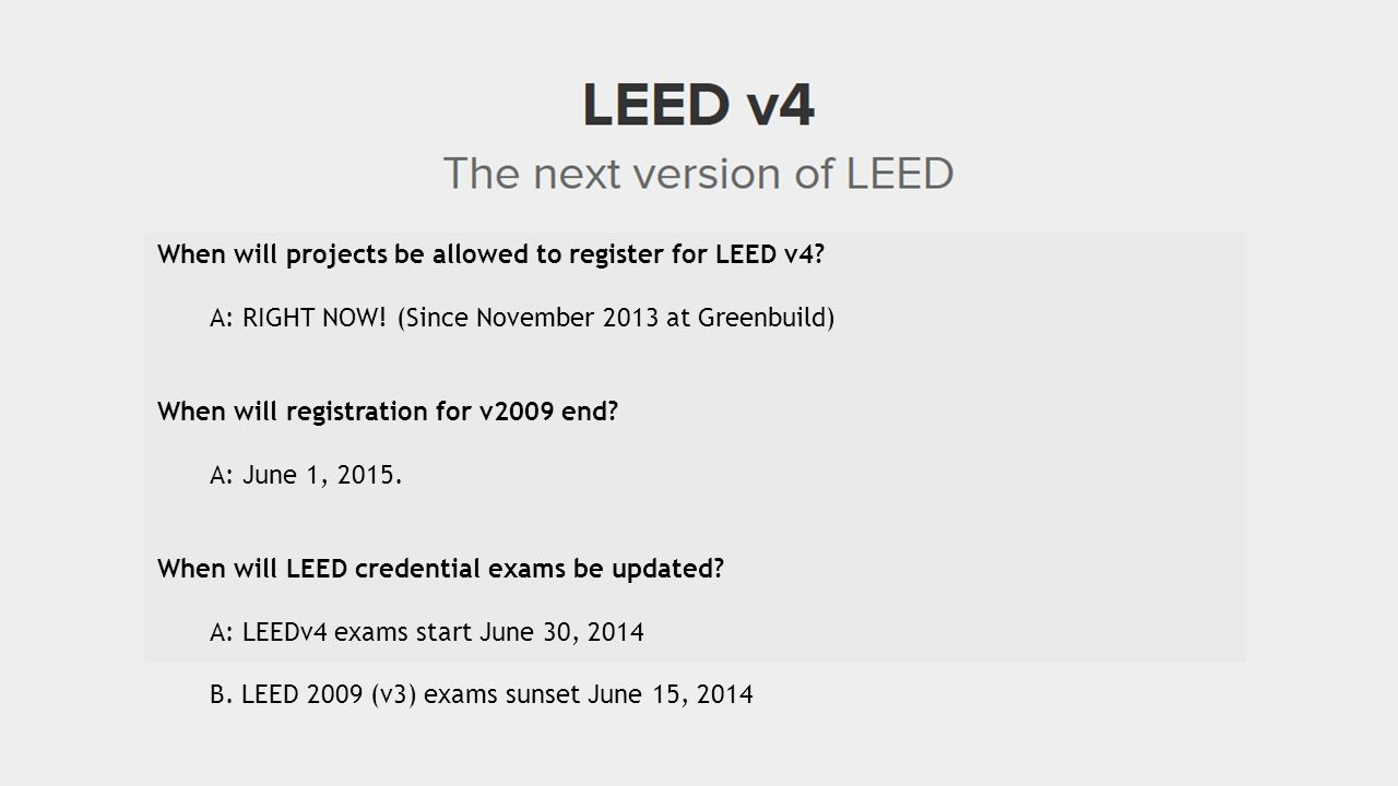 When will projects be allowed to register for LEED v4