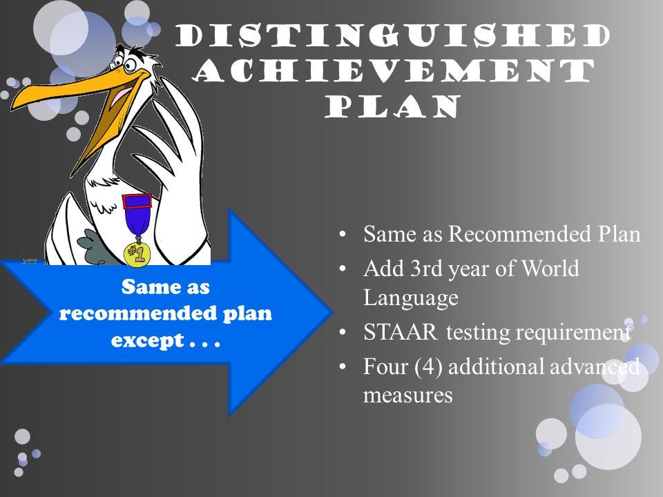 Distinguished achievement plan