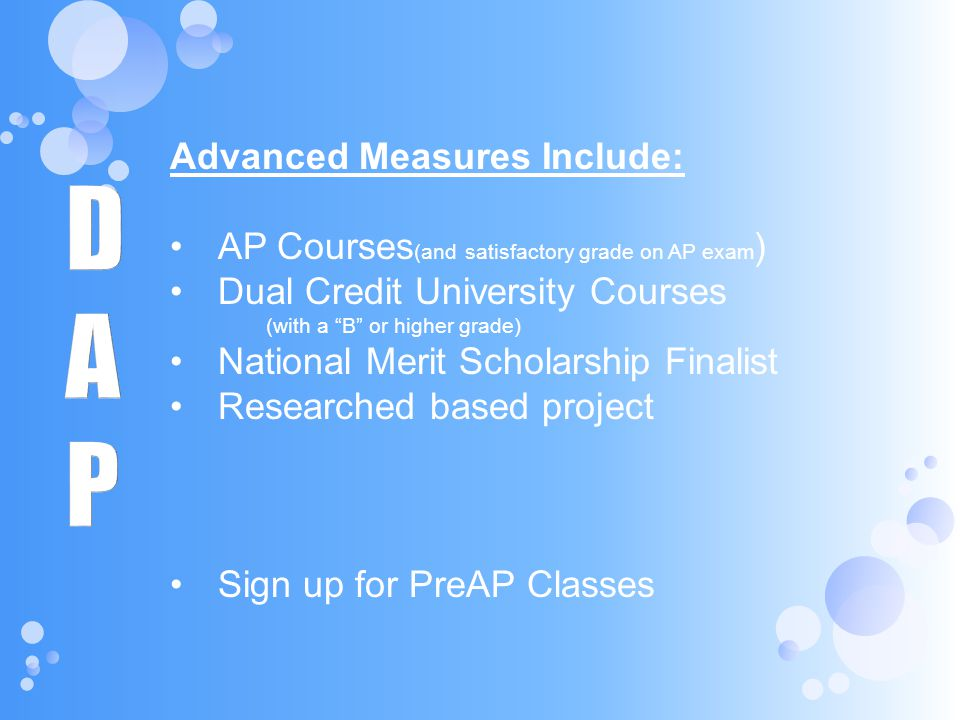 D A P Advanced Measures Include: