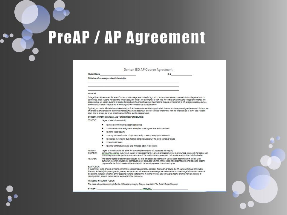 PreAP / AP Agreement