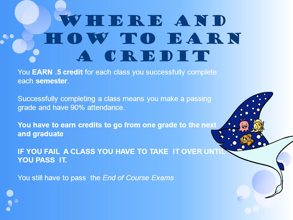 Where and How to Earn a Credit