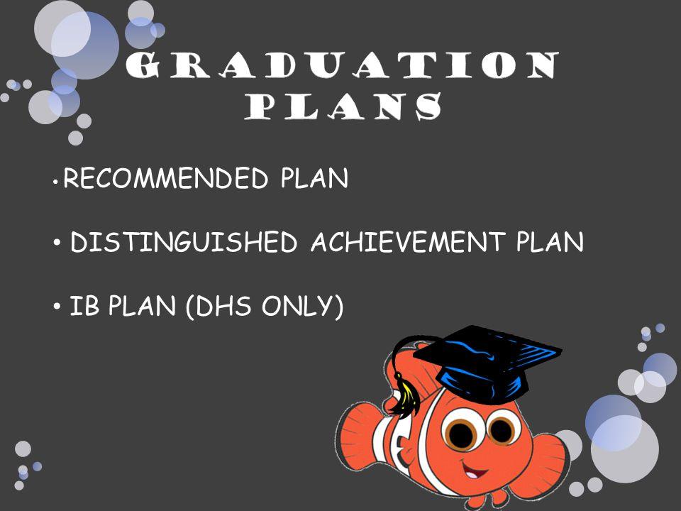 graduation Plans DISTINGUISHED ACHIEVEMENT PLAN IB PLAN (DHS ONLY)