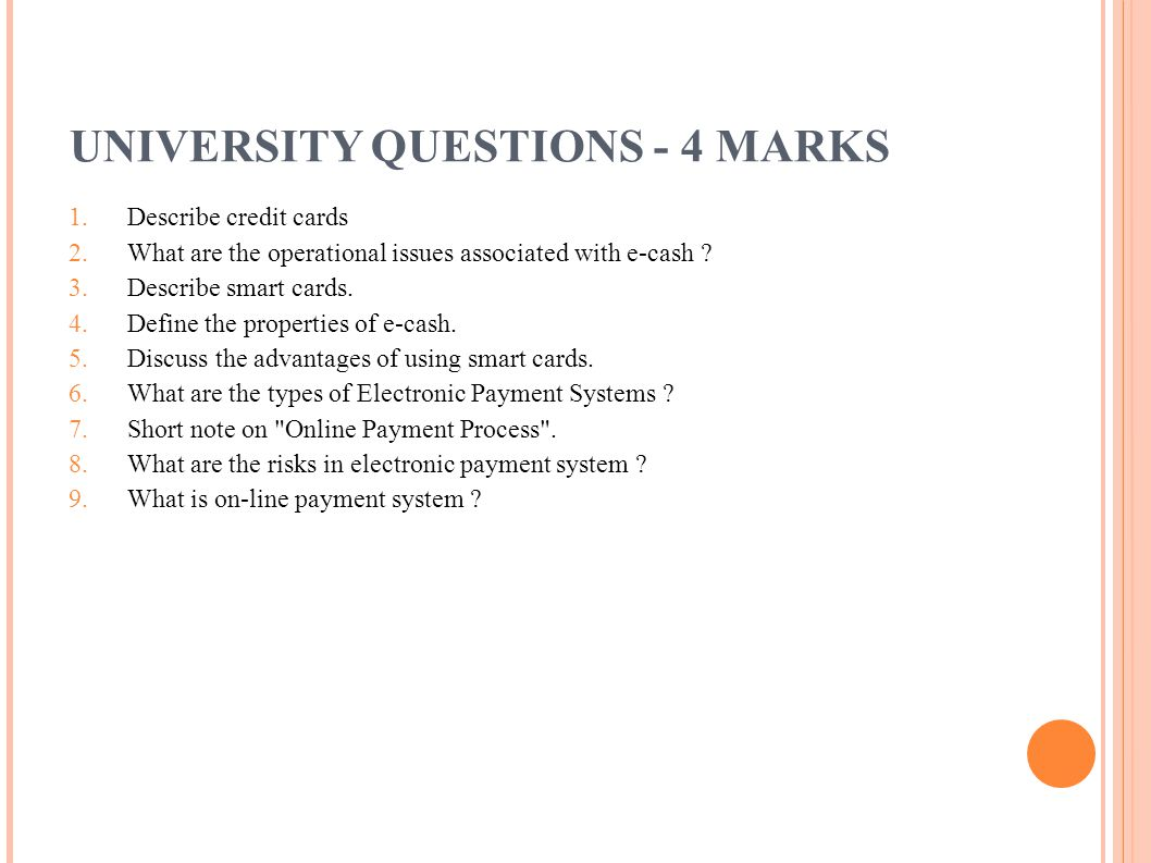 UNIVERSITY QUESTIONS - 4 MARKS