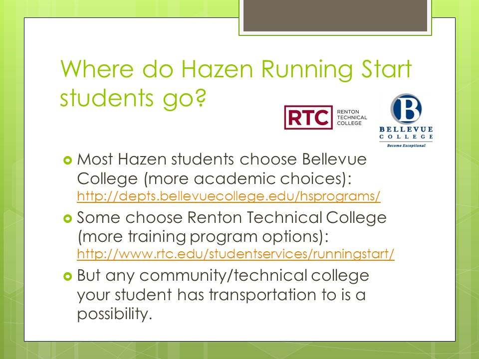 Where do Hazen Running Start students go