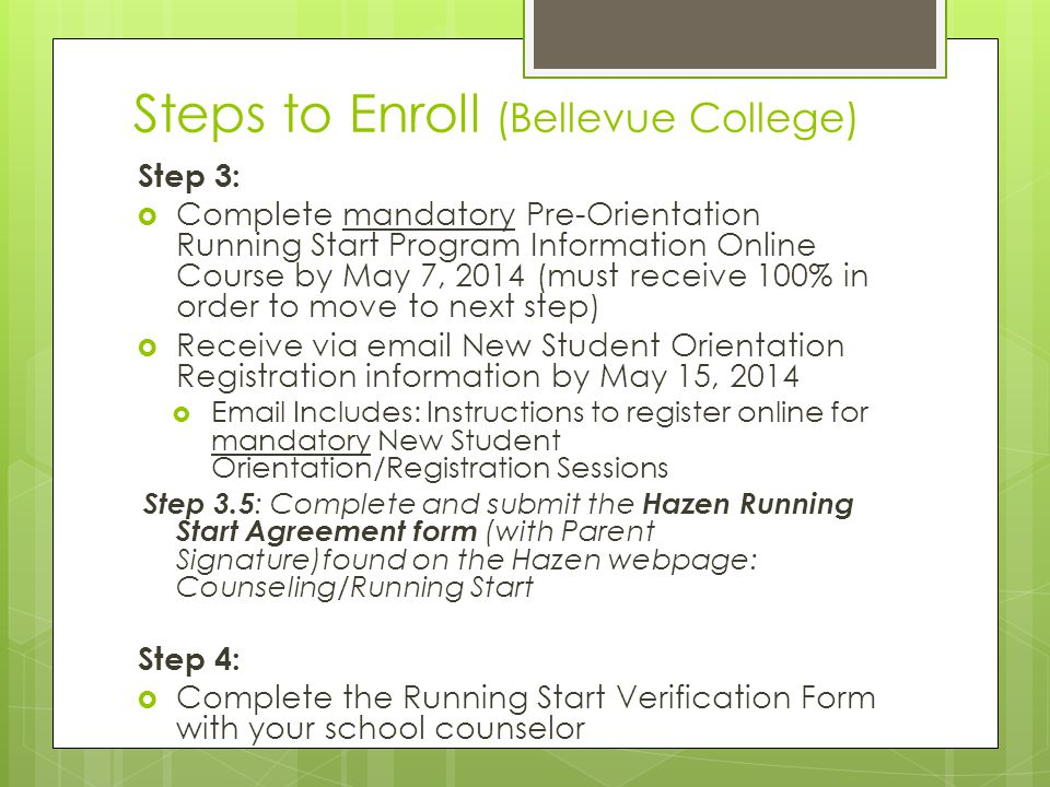 Steps to Enroll (Bellevue College)