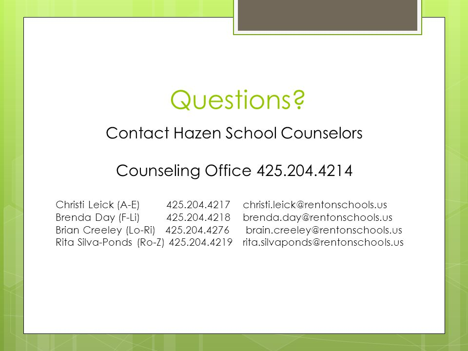 Contact Hazen School Counselors