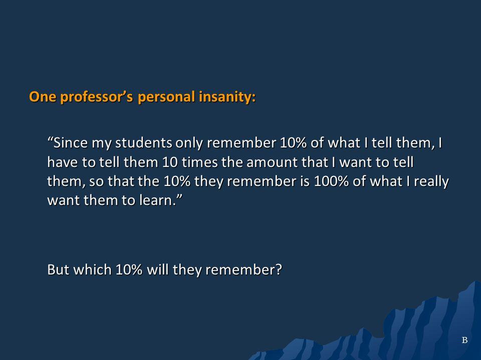 One professor's personal insanity: