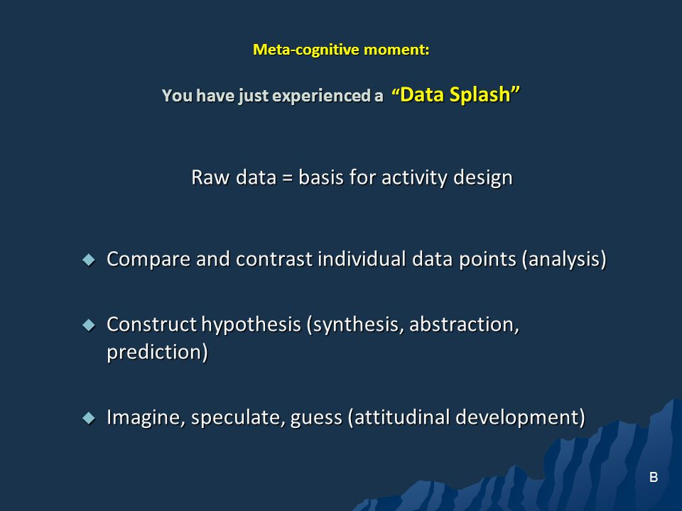 Meta-cognitive moment: You have just experienced a Data Splash