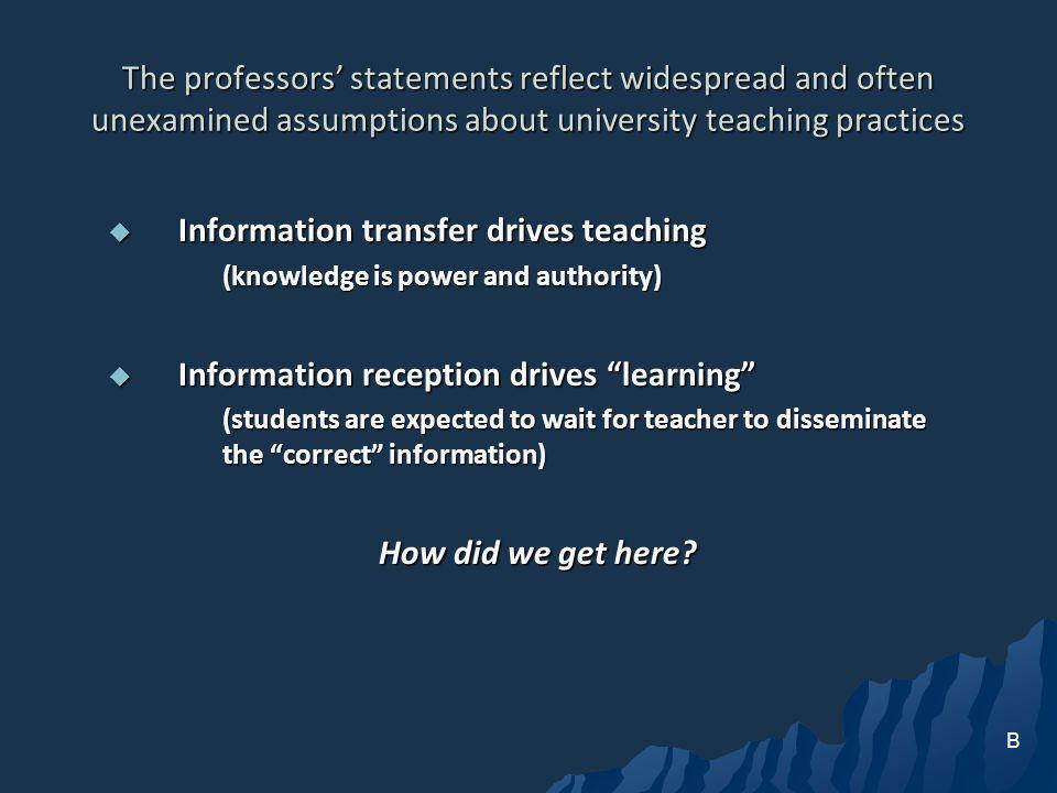 Information transfer drives teaching